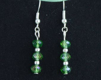 Chic and glitzy green rondelle earrings