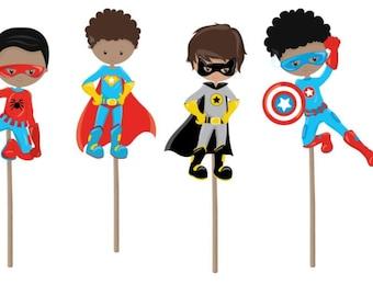 Superhero Cupcake Topper, superhero cupcake picks, superhero theme, superhero birthday party, superhero birthday decorations, party supplies