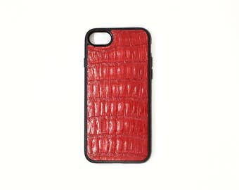 case for iphone 7/7+  6/6+ apple red crocodile