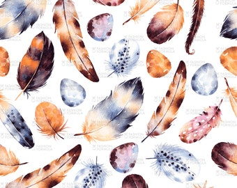 Falling from the Sky Feathers Fabric by Kate_Rina