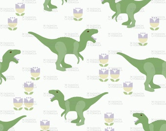 Prehistoric Green Dino Raptor Fabric by mariafaithgarcia