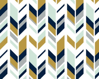 Mustard and Navy Feather Fabric by littlearrowdesigncompany