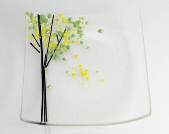 Fused Glass Birch Tree Plate