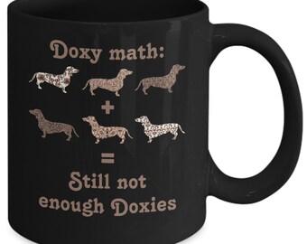 """Dachshund Dogs Coffee Mug """"Doxy Math"""" Funny Coffee Cup"""