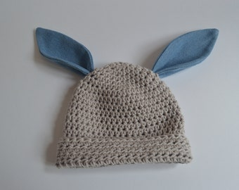 Dove Grey Bunny Beanie with denim ears