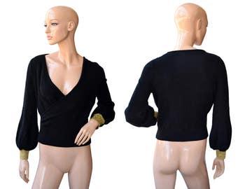 Vintage women top blouse black gold