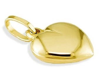 Solid 14k Yellow Gold Puffy Love Heart Polished Pendant