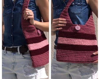 Maroon Striped Shoulder Bag