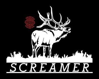 Screamer Elk Decal, Vinyl Window Decal, Hunting Decal, Elk Decal