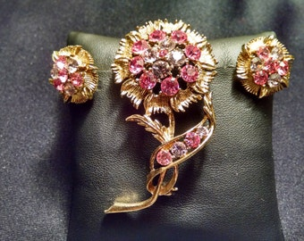 Sweet Two Toned Pink Flower Pin And Earring Set