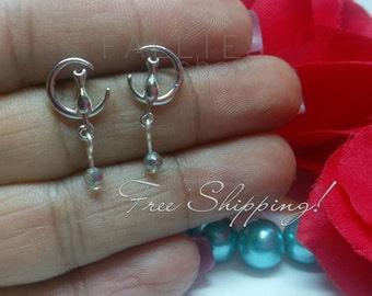 Cat earrings, 925 sterling silver cat earrings, silver earrings, cat gifts, cat and tail earrings, rhinestone earrings, cats ,trendy jewelry