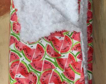 Watermelon Baby Blanket- Faux Fur Baby Blanket- Baby Girl Blanket- Baby Shower Gift