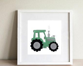Tractor Nursery Print   Green Tractor   Farm