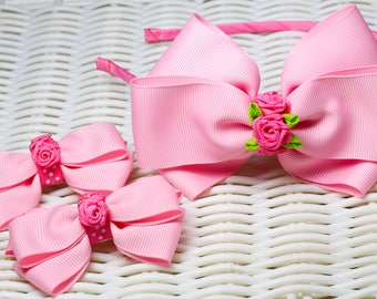 Set Headband and 2 Hair clips for baby / girl