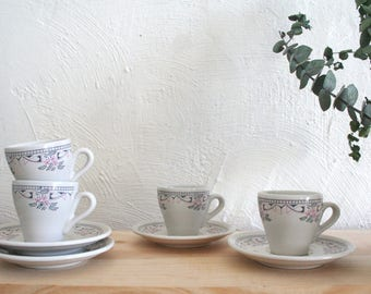 Vintage Espresso Cup Set of Four / Italian Espresso Cups with Saucers / Vintage Coffee Set / Floral Italian Ceramics / Vintage Tableware