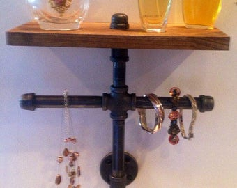 Jewelry Stand w/ Wood Shelf Industrial Pipe Wall Hanging Display Watch Bracelet Home Decor & Design