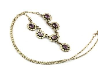 Vintage Floral Links Oval Amethyst Frontal Necklace 925 Sterling 16.5 IN NC 158