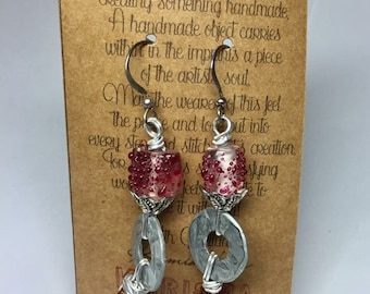 Metal washer earrings with pink beads