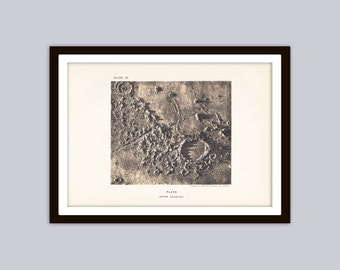 1897 LUNAR CRATER: PLATO Antique Astronomy Print || Celestial Monochrome Lithograph || Lunar Art, Surface of the Moon, Solar System, Cosmos
