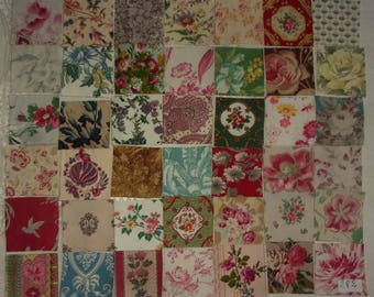 Lot of 42 small coupons for old fabrics for patchwork... ref 282