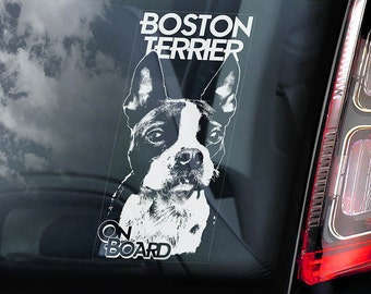 Boston Terrier - Car Window Sticker - American Bull Boxwood Dog on Board Sign Decal - V01