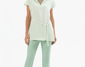Womens silk trousers - mint silk pants