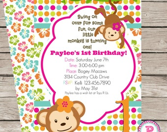 Mod Monkey Love Birthday Party Invitation Front Back Summer Hibiscus Hawaiian Digital File Our Little Monkey Is Turning One 1st Birthday