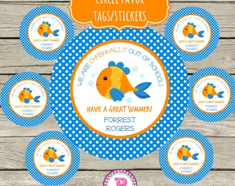 End Of School Year Circle Favor Tags Printable 2 inch Stickers Have a Great Summer Personalized O-Fish-ally out of school Treat Bag Goldfish