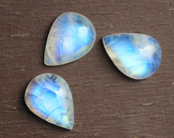 Rainbow Moonstone natural pear shape cabochon Gemstone MM sizes available- 7x10, 8x12, 9x13, 10x14, 12x16, 13x18, 15x20, 16x22, 18x25, 20x30