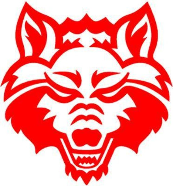 Vinyl Decal Sticker - Arkansas State Red Wolves  Decal for Windows, Cars, Laptops, Macbook, Yeti, Coolers, Mugs etc