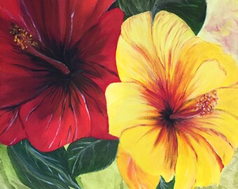 Oil painting red yellow hibiscus