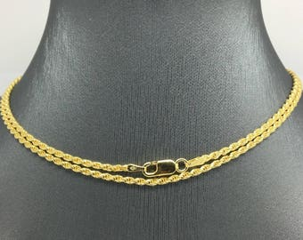 925 Gold Plated Sterling Silver Rope Chain