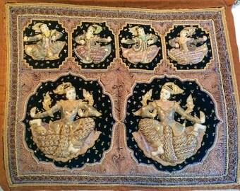 Vintage Hand Embroidered Burmese Kalaga Tapestry