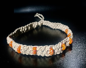 Macramé natural hemp choker with orange beads
