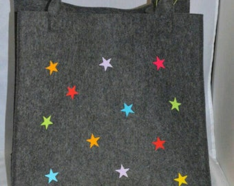 Shopper / felt bag with stars