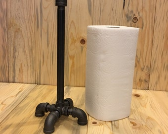 Black Iron Pipe Industrial-Paper towel Holder