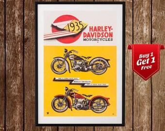 Harley Davidson Vintage Ad Print - Harley Poster , Chopper, Motorcycle, Retro Poster , Harley Davidson Vintage Poster , Advert