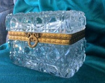 French Crystal Sugar Casket Box-Baccarat?