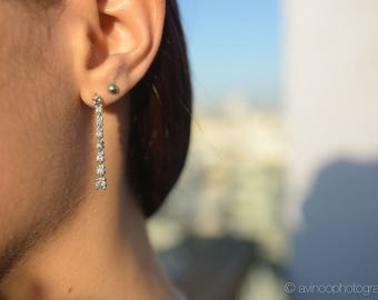 Diamond Drop Earrings, Diamond Earrings, Bridal Long Earrings, Thin Dangle Earrings, Link Earrings, Real Natural Diamond