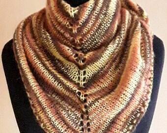 Triangle shawl. Triangle scarf. Shawl. Knitted shawl. Multi colour shawl. Multi colour scarf. Striped shawl. Winter shawl. Handknit.