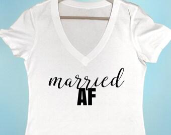 Married AF T-shirt Women's T-shirt Bride Tshirt Bachelorette Tshirt