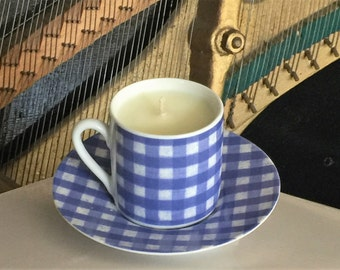 Blue Gingham Teacup Candle