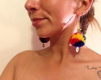 Indian summer pom pom earrings