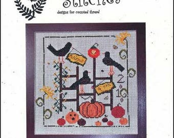 Primitive Cross Stitch pattern Halloween Punkins 4 Sale 118w and 113h from Notforgotton Farm