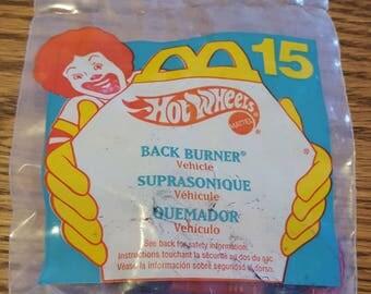1994 McDonald's Happy Meal - Hot Wheels Mattel – Hot Wheels Back Burner Vehicle – Teal Package No 15