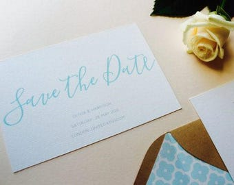 Mint Calligraphy Save the Date - Simple Modern Save the Date - Wedding Save the Date card