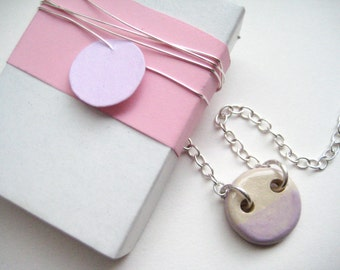 Necklace ceramic Silver 925 pink / cream about 1