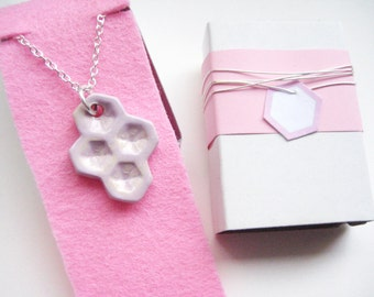 Chain silver of 925 pink honeycomb 8 ceramic
