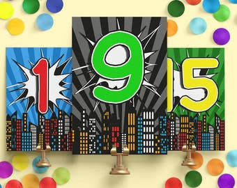 Comic Book Wedding Table Numbers - Comic Book Table Number Cards - Wedding Table Number Cards - Printable Table Cards