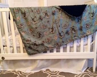 Stag & Rabbit Minky Baby Blanket